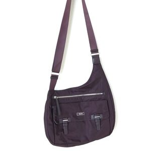 TUMI Burgundy Voyager Siam Nylon Crossbody Bag